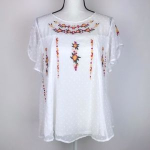 New Francesca's Emelia Embroidered Swiss Dot Top
